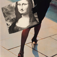 christos dikeakos exhibition artwork of a woman walking with painting of mona lisa with moustashe