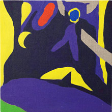 jeff hallbauer exhibition artwork of abstract art predominantly purple, yellow and black