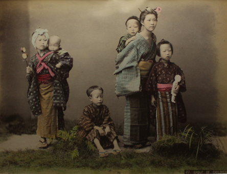 vintage photo group of Japanese children