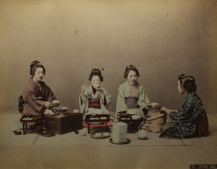 Japanese women eating rice